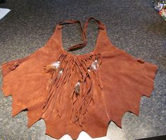 HB Leather Halter Top w Knotted Ties Fringe & Feather Beaded Front Accent