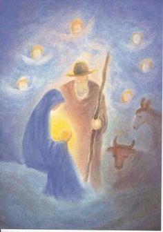 birth of christ waldirf Christmas Nativity Scene, A Christmas Story, Christmas Art, Chalkboard Drawings, Chalk Drawings, Catholic Art, Religious Art, Holiday Canvas, Waldorf Crafts