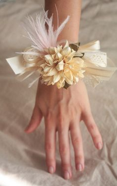 Flowers and Feathers Corsage for the Lovely Ladies, ready to ship. $18.00, via Etsy.