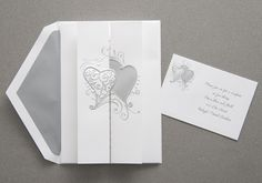 Heart Wedding Invitations by The Purple Mermaid ~ A pair of hearts in silver foil grace the front of this invitation Heart Wedding Invitations, Personalised Wedding Invitations, Beautiful Wedding Invitations, Wedding Cards, Wedding Events, Wedding Stuff, Weddings, Invitation Cards, Invites