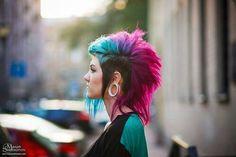 Half shaved head pink purple blue green gauged pierced piercing stretcher emo scene alternatibe