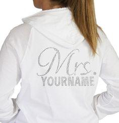 "Lightweight Custom Cursive ""Mrs."" Rhinestone Hoodie: Bride Gift, Personalized Bride Gift, Custom Bride Gift, Bachelorette Party Hoodie on Etsy, $42.99"