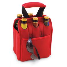 Picnics, camping, concerts, tailgating, sporting events and outdoor events of every kind are the perfect opportunities to use this great beverage tote so you'll have cold drinks on hand at all times. This insulated cooler tote will hold most soda, beer or water in bottles or cans up to 20 ounces each, so you can carry something for everyone. Made from long-lasting and attractive neoprene, you can get the Six Pack in your choice of red, green, blue or black, so you can tote your drinks…