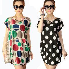 Cheap 2016 mujeres del verano imprimen rayas Polka dot vestido túnica tamaño grande los vestidos cortos de playa camisa larga para mujer vestidos Wholesale V12P19, Compro Calidad Vestidos directamente de los surtidores de China:                                                            &