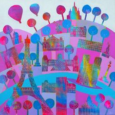 Paris in the Pink - 27 x 27cm Giclee Print by Jenny Urquhart at The Bristol Shop