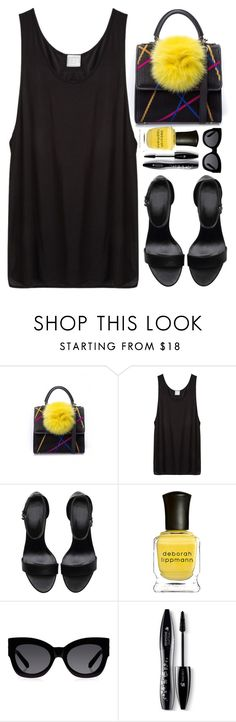 """Black & Yellow"" by monmondefou ❤ liked on Polyvore featuring Les Petits Joueurs, Base Range, Deborah Lippmann, Karen Walker and Lancôme"