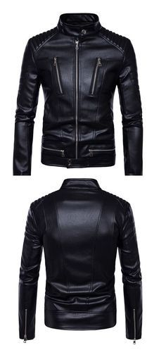9a5e06a3fe6 Men's Casual/Daily Simple Fall Winter Leather Jacket,Solid Stand Long  Sleeve Regular PU