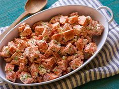 Recipe of the Day: Trisha's Sweet Potato Salad Trading in bright sweet potatoes for the standard white, Trisha's creamy cookout staple calls for a tangy dressing of half Greek yogurt, half mayo.