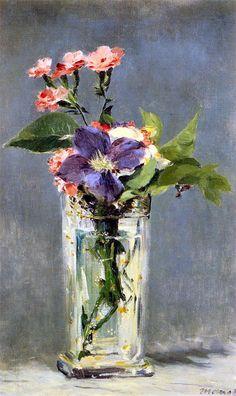 mimbeau: ca 1882 Édouard Manet (1832-83) ~ Carnations and Clematis