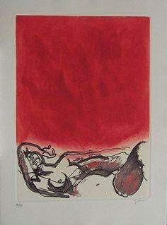 Renato Guttuso   Nudo di donna con fondo rosso