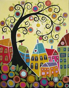 Swirl tree, houses, and a bird - Karla Gerard art