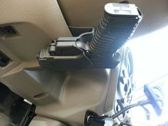 My XDs. 45 and holster fits and clips under my steering wheel.