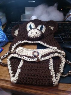 monkey hat with ear flaps and diaper cover