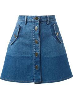 Valentino Two-Tone Denim Skirt Denim Skirt Winter, A Line Denim Skirt, A Line Skirts, Short Skirts, Mini Skirts, Mode Outfits, Skirt Outfits, Dress Skirt, Casual Skirts