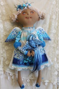 VK is the largest European social network with more than 100 million active users. Doll Crafts, Diy Doll, Rhinestone Fabric, Textiles, Felt Toys, Chiffon, Fabric Dolls, Doll Face, Christmas Angels