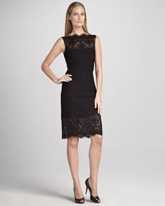 Sleeveless Cocktail Dress with Lace and Pintucking by #Tadashi Shoji from Neiman Marcus #poachit