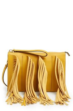 Women's Marni Leather Fringe Clutch from Nordstrom Best Leather Wallet, Leather Clutch Bags, Leather Handbags, Leather Bag Pattern, Diy Mode, Fringe Bags, Leather Projects, Leather Fringe, Leather Accessories