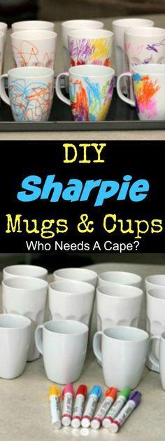 DIY Sharpie Mugs & Cups   Who Needs A Cape?