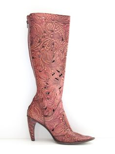 Pink Gianni Barbato laser cut cowgirl boots... Stunning Statement Boots