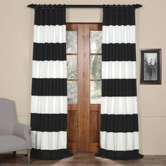 Half Price Drapes PRCTHS0696 Horizontal Stripe Cotton Curtian Onyx Black  OffWhite >>> Check this awesome product by going to the link at the image. (This is an affiliate link and I receive a commission for the sales)