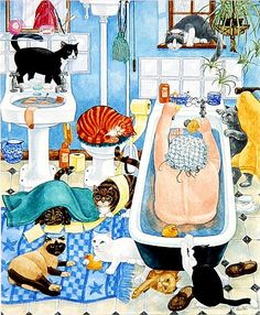 Linda Benton - Grandma and 10 cats in the bathroom - Nonna con 10 gatti in bagno Crazy Cat Lady, Crazy Cats, Cat Posters, Cat Cards, Dog Art, Cute Art, Cats And Kittens, Illustration Art, Cat Illustrations
