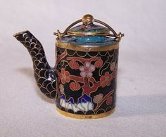 Cloisonne Teapot Oriental Vintage Enamel Chinese Japanese FOR SALE