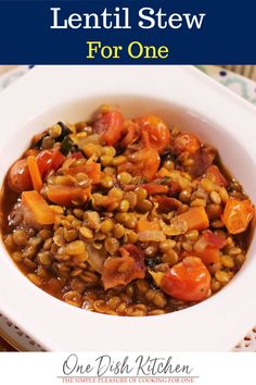 This hearty lentil stew is a one-pot wonder. It's filled with flavor, loaded with healthy ingredients, and easy to customize which makes this single serving stew one of my favorite go-to recipes.