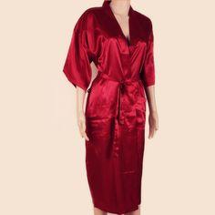 Hot Sale Red Chinese Men Bath Robe Kimono Bath Gown Faux Silk Yukata Nightgown Size M L XL XXL XXXL Free Shipping