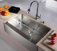 Kraus 33 Inch Farmhouse Apron Single Bowl Stainless Steel Kitchen Sink KHF200-33 $440.00