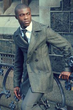 Gray Pea Coat+Black Tie+White Shirt+Gray Pants White Shirt Grey Pants, Grey Pea Coat, Cool Coats, Well Dressed Men, Black Tie, Dapper, Suit Jacket, Peacoats, Menswear