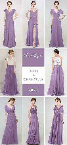 Top 10 wedding color trends to inspire in 2021 with amethyst bridesmaid dresses combo ideas Mismatched Bridesmaid Dresses, Brides And Bridesmaids, Wedding Colors, Wedding Ideas, Color Trends, Formal Dresses, Wedding Dresses, Summer Wedding, Amethyst