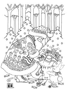 Santa free coloring book page from Mary Engelbreit!