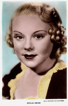 """""""Petite and glamorous Sonja Henie (1912 – 1969) was one of the greatest figure skaters in history, the 'Pavlova of the ice'. She won more Olympic and World titles than any other ladies figure skater. At the height of her acting career, the Norwegian figure skater and film star was one of the highest paid stars in Hollywood. She had a shrewd business sense, and was immensely successful next with a series of ice revues."""" #vintage #ice_skater #actress #1930s #women #hair"""