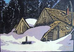 "William Seltzer Rice (1873 - 1963) · Snowed In - Calaveras Big Tree Hotel · Circa 1920's (edition of about 15) · Color Woodcut Block Print on Japanese laid Paper · 8.75"" x 12"""