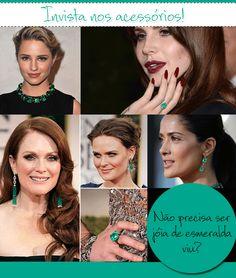 Celebridades arrasando nos acessórios em verde esmeralda.