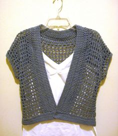Free Crochet Shrug Patterns | The Handmade Way: The Short Sleeved Crochet Shrug with the Denim Look  ༺✿Teresa Restegui http://www.pinterest.com/teretegui/✿༻