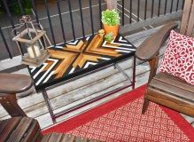 wood, geometric design, wood inlay, steel base, metal base, welded, urban design, farmhouse furniture