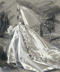 wedding dress illustration by Jay Hyde Crawford Wedding Dress Sketches, Wedding Dress Patterns, Dream Wedding Dresses, Wedding Gowns, Wedding Dressses, Wedding Art, Wedding Bride, Dress Illustration, Wedding Illustration