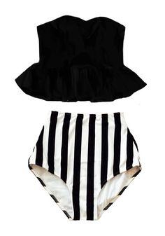 Black Long Top and Stripe Stripes High waisted waist rise cut Retro Bottom Bikini Swimsuit Swimwear Bathing suit dress wear suits S M L XL by venderstore on Etsy