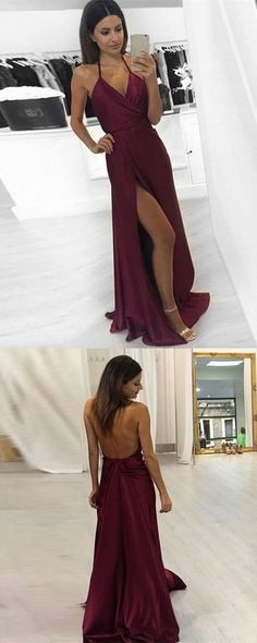 simple burgundy long prom dresses, sexy halter backless party dresses, modest formal dresses with slit