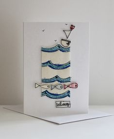 Special Price: Was now A sailing boat is floating on a scalloped sea, with three fishes, a sewn label 'sail away' and hand drawn birdies in the sky. This card is not a print, each piece has been sewn by me and my sewing machine, making it t. Emma Lou, Sewing Crafts, Diy Crafts, Sail Away, Blank Cards, Textile Art, Seaside, Machine Embroidery, Card Stock