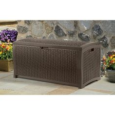 The Suncast resin wicker deck box helps keep your yard tidy by providing plenty of space to store your outdoor gear. Place it on your patio or in your yard to store pool accessories, lawn games, chair cushions, gardening tools and much more. Its weather-resistant resin construction protects the contents from harsh weather. This Suncast deck storage box has a snap-lid closure that makes the lid stay upright when you open it. The carrying handles make it easy to move around from one place to…