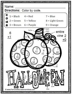 403 best halloween images halloween crafts halloween decorating Indoor Halloween Scavenger Hunt Clues halloween fun basic addition and subtraction color your answers printables eight printables and eight