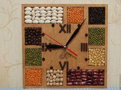 """Часы для дома ручной работы. Ярмарка Мастеров - ручная работа. Купить Настенные часы """"Бобы"""". Handmade. Комбинированный"""