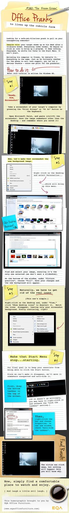 Are you looking for a safe-yet-hilarious prank or hack to pull on your unsuspecting friend, buddy or coworker's. Then read this tutorial, written for Windows Operation System (OS).  Like us on Facebook : http://facebook.com/Blogpad.DigitalWorld  http://ipadfour.blogspot.com/2012/11/the-frozen-screen-computer-prank.html