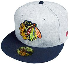 0d42aa652b0 New Era Chicago Blackhawks Heather Cap 59fifty 5950 Fitte... Ball Caps