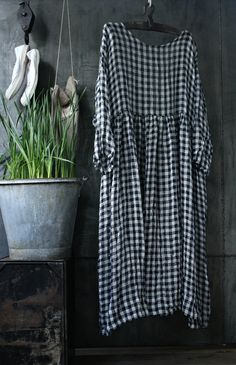Navy and White Linen Checked Dress MegbyDesign