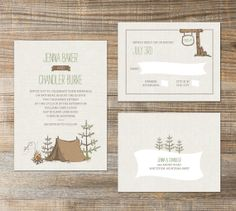 Printable Wedding - Original Camp Etsy - hand drawn Invitation with tent, love campfire and trees on Etsy, $20.00