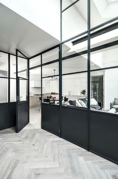 If you're revamping your kitchen, for glamour and elegance, you can't go wrong with 'on-trend' crittall style glass partitioning screens and doors. Glass Partition Designs, Glass Partition Wall, Partition Screen, Patio Interior, Interior Design, Steel Doors And Windows, Glass Office, Inspired Homes, Office Interiors
