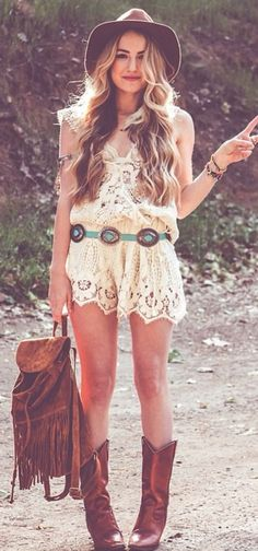Sexy boho chic crochet embellished romper with modern hippie concho belt, fringe backpack rucksack and cowboy boots. FOLLOW > https://www.pinterest.com/happygolicky/the-best-boho-chic-fashion-bohemian-jewelry-gypsy-/ NOW for the BEST Bohemian fashion &  carefree lifestyle trends.